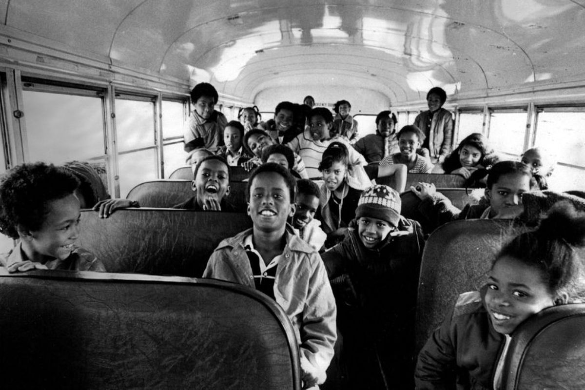Students leaving school at Sabin Elementary in southwest Denver in 1982.