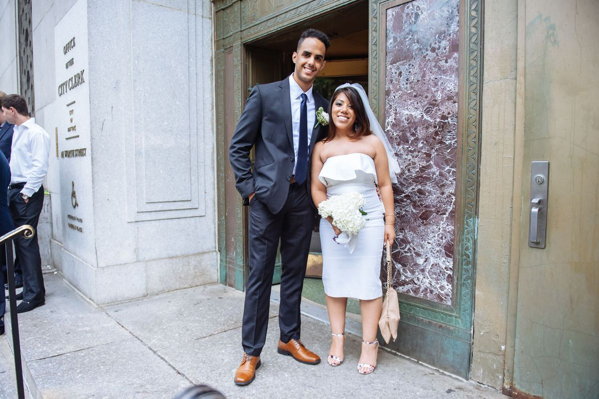 The couple who met at a yankees game on their city hall for City hall wedding dresses nyc