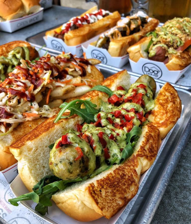 A diverse roster of hot dogs and sausages on the menu at the Dog Haus Biergarten.