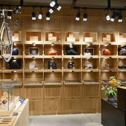 Shinola's signature watch and accessories wall.