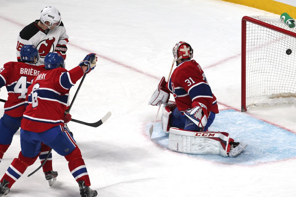 I know they lost. Still, here's a great photo of Bernier re-directing that puck home in the first period.