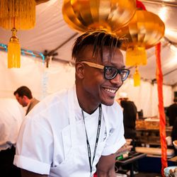 Departure's Greg Gourdet dishes at the Night Market.