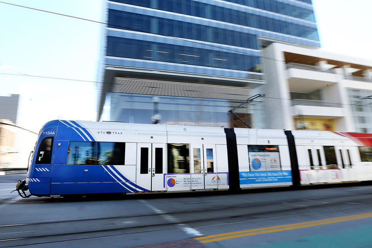 A TRAX train moves through Salt Lake City  on Tuesday, April 4, 2017. The Utah Transit Authority is running late TRAX and S-Line service during this weekend's Utah Arts Festival.
