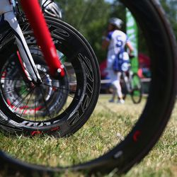 Competitors rack their bikes ahead of race day before the Challenge Triathlon Roth on July 19, 2014 in Roth, Germany. (Photo by Alex Grimm/Getty Images)