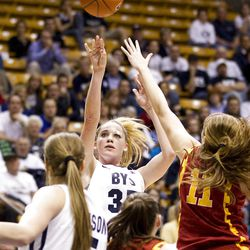BYU's Kristen Riley shoots the ball in BYU's loss to USC in the third round of the National Invitational Tournament on Wednesday, March 23, 2011. BYU lost 50-62.