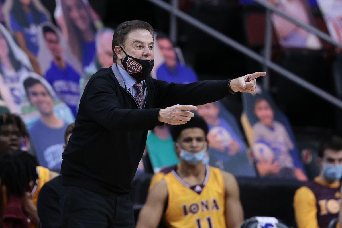 Iona Gaels head coach Rick Pitino points during the second half against the Seton Hall Pirates at Prudential Center.