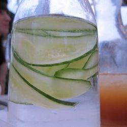 Cucumbers floating in a carafe = mesmerizing