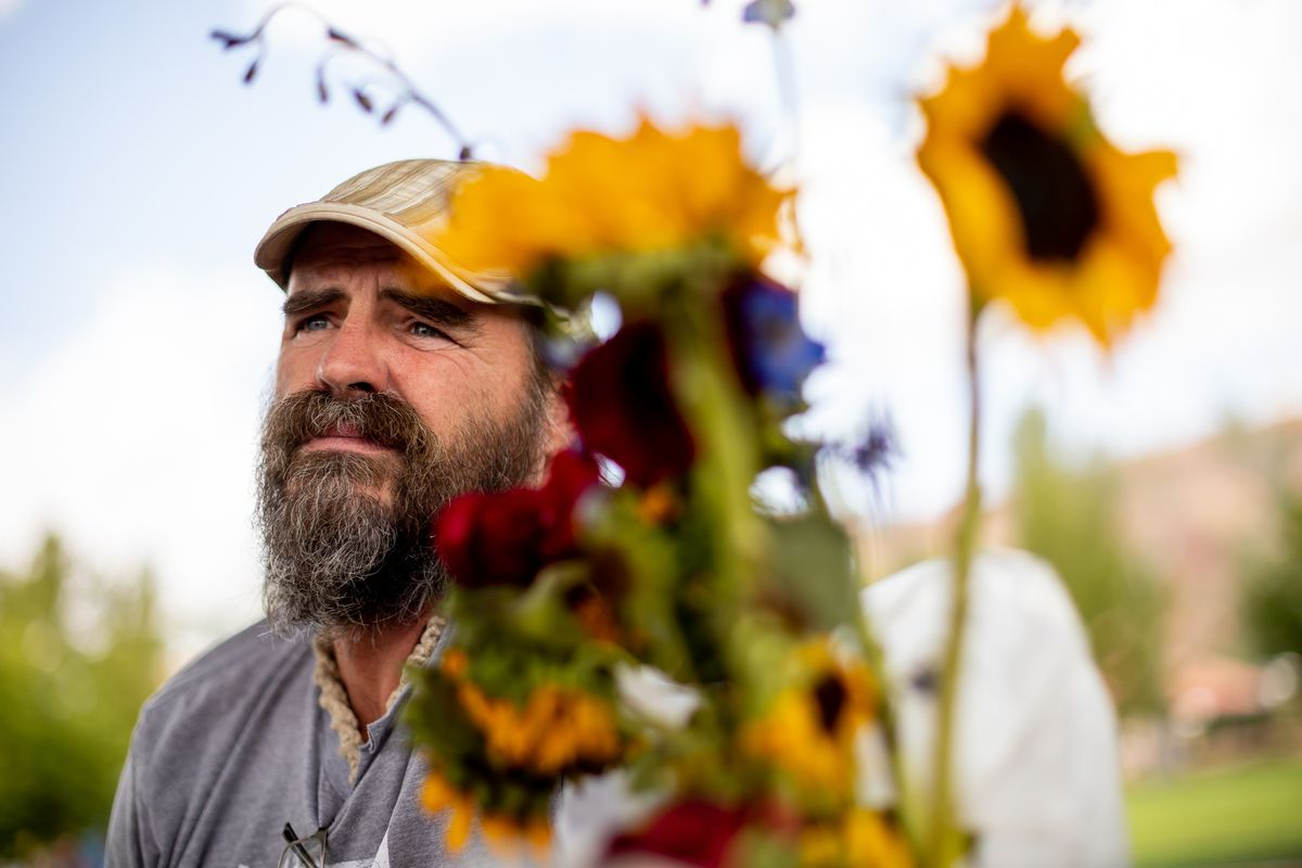 Sean-Paul Schulte talks to journalists on Sunday, Sept. 19, 2021, in Moab's Swanny Park, where he's spent much of the past two weeks seeking community tips in the murder of his daughter, Kylen Schulte, and her wife, Crystal Turner.