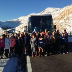 Members of the Desert Hills cross country team from St. George spent 12 hours stopped on I-15 in the Virgin River Gorge along the Arizona Strip on their way home from a race in California on Sunday, Dec. 8, 2013. They were stuck just 15 miles from home.