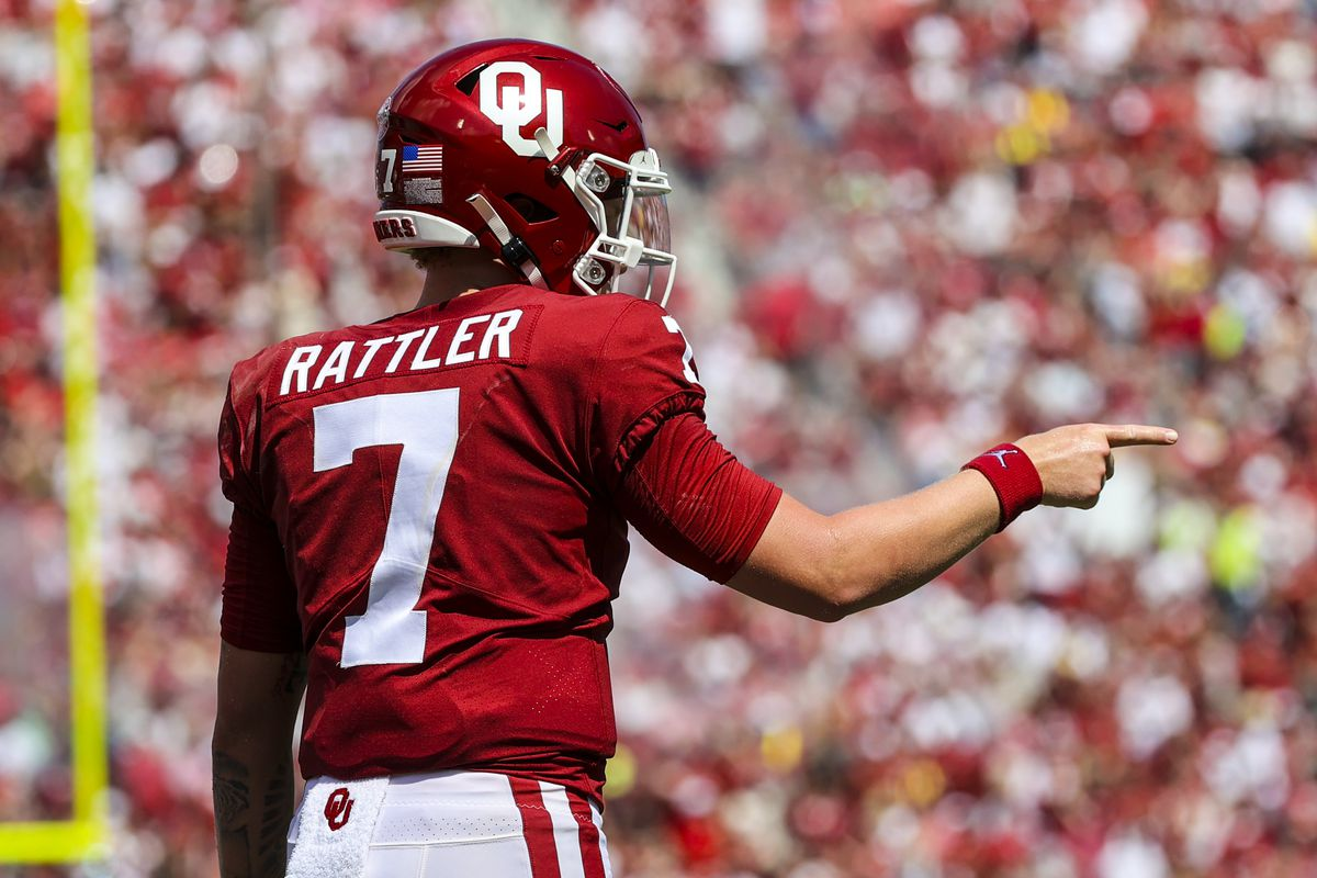 Oklahoma Sooners quarterback Spencer Rattler (7) reacts after a touchdown during the third quarter against the Nebraska Cornhuskers at Gaylord Family-Oklahoma Memorial Stadium.