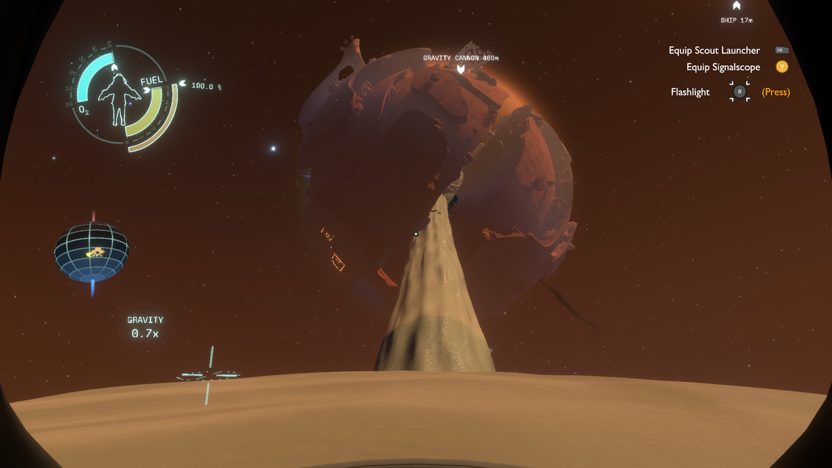 A large planet sucking sand off of another planet in Outer Wilds