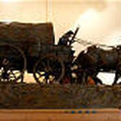 Horse-pulled wagon was created in Phase I of the production and is a smaller-scale replica of what will be the finished monument.