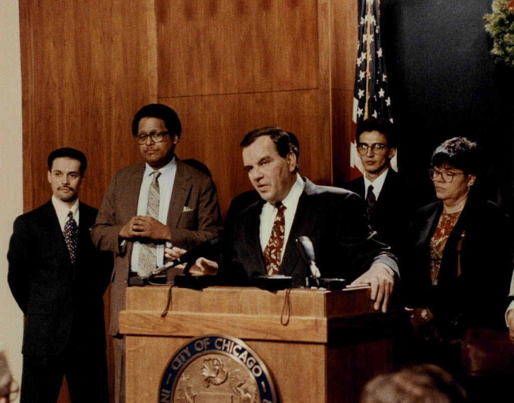 Former Mayor Richard M.  Daley introduces four newly appointed members of the city Council. From left: aldermen Billy Ocasio Dexter G. Watson. Ricardo Munoz and Madeline Haithcock. | Sun-Times file