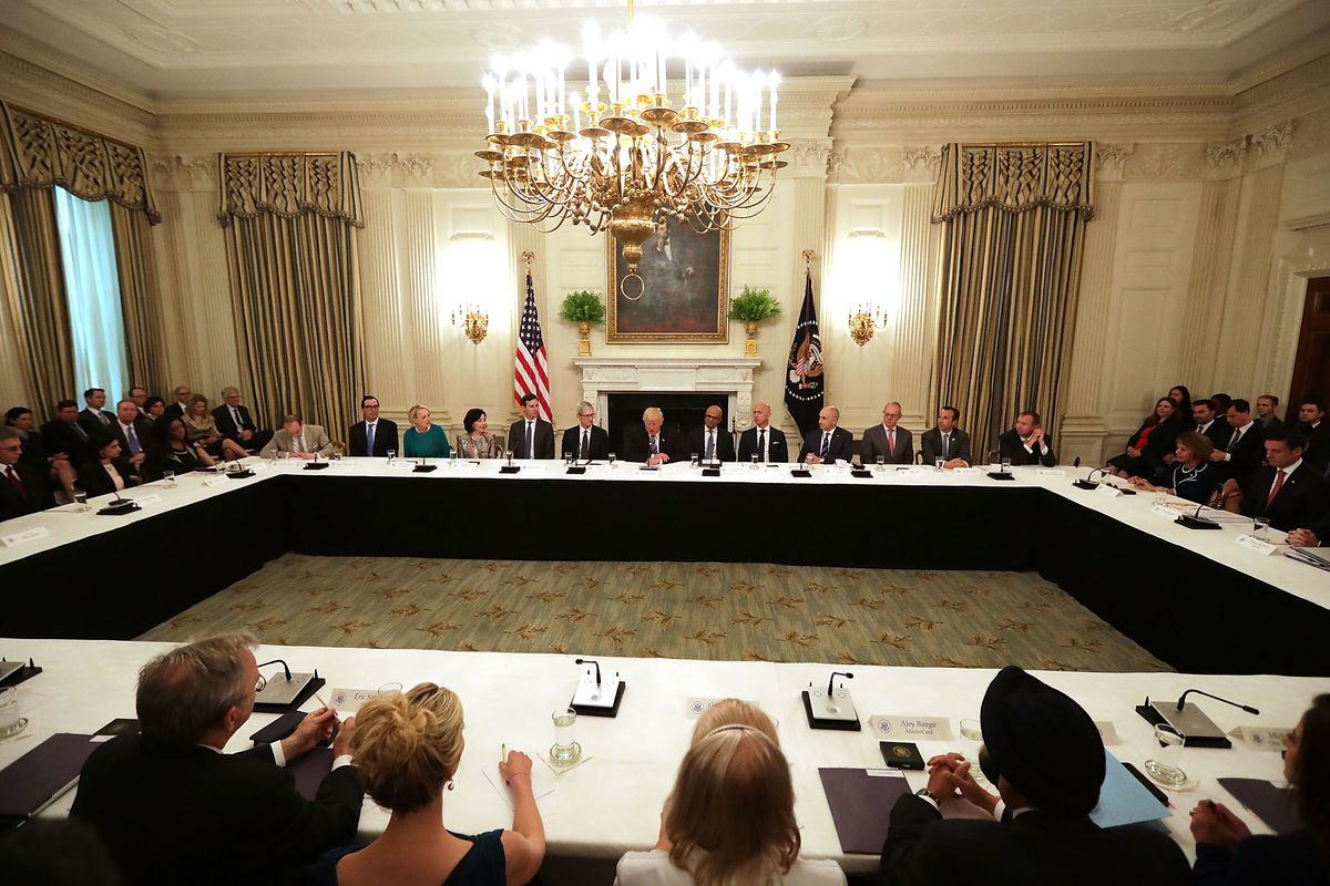 WASHINGTON, DC - JUNE 19: U.S. President Donald Trump welcomes members of his American Technology Council in the State Dining Room of the White House June 19, 2017 in Washington, DC.
