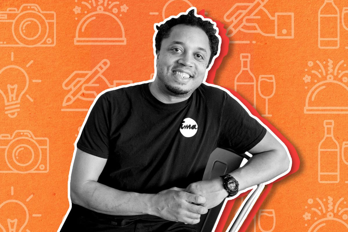 A black and white cutout photo of chef Mike Ransom wearing an Ima shirt and leaning back in his chair. It's on an orange illustrated background.
