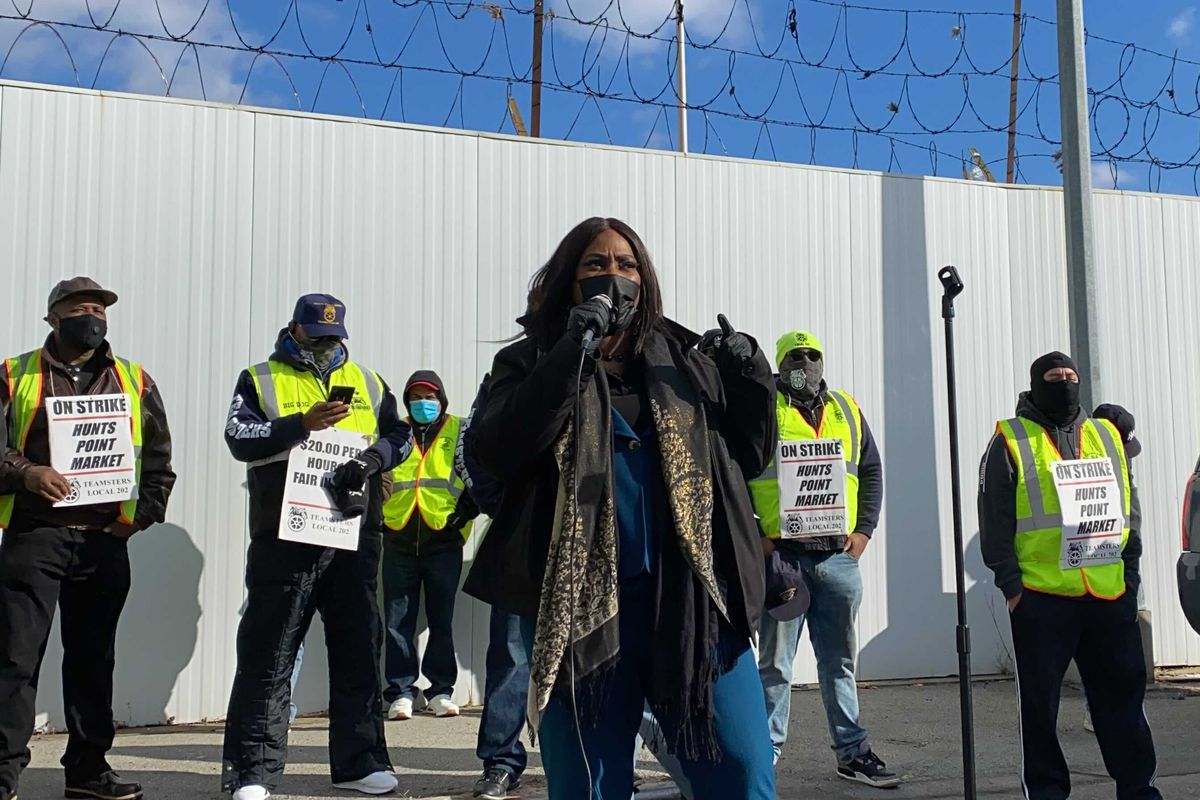 Councilmember Vanessa Gibson speaks at a Sunday rally for striking Hunts Point Produce Market workers.