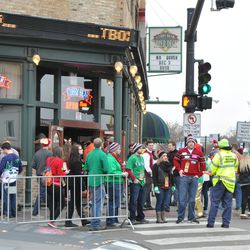 Another view of the crowd in front of the Cubby Bear