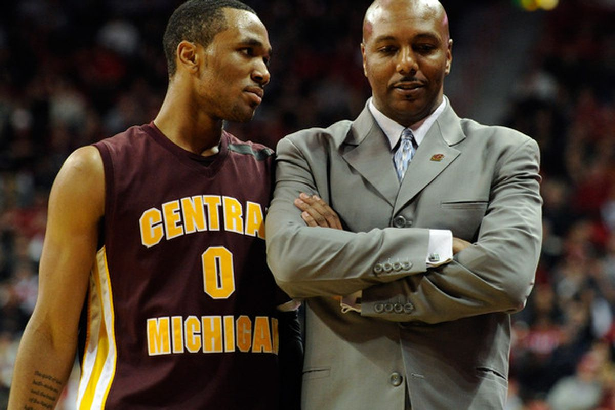 LAS VEGAS NV - Trey Zeigler #0 of the Central Michigan Chippewas talks to his father head coach Ernie Zeigler during their game against the UNLV Rebels.