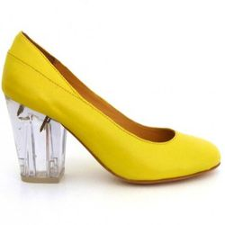 """This peppy yellow number is an exclusive Vena Cava collab with TenOverSix. With a chunky heel and poppin' color, these shoes will not make anyone think it's ok to shove a dollar bill in your undies. Available at <a href=""""http://shop.tenover6.com/shop/wome"""