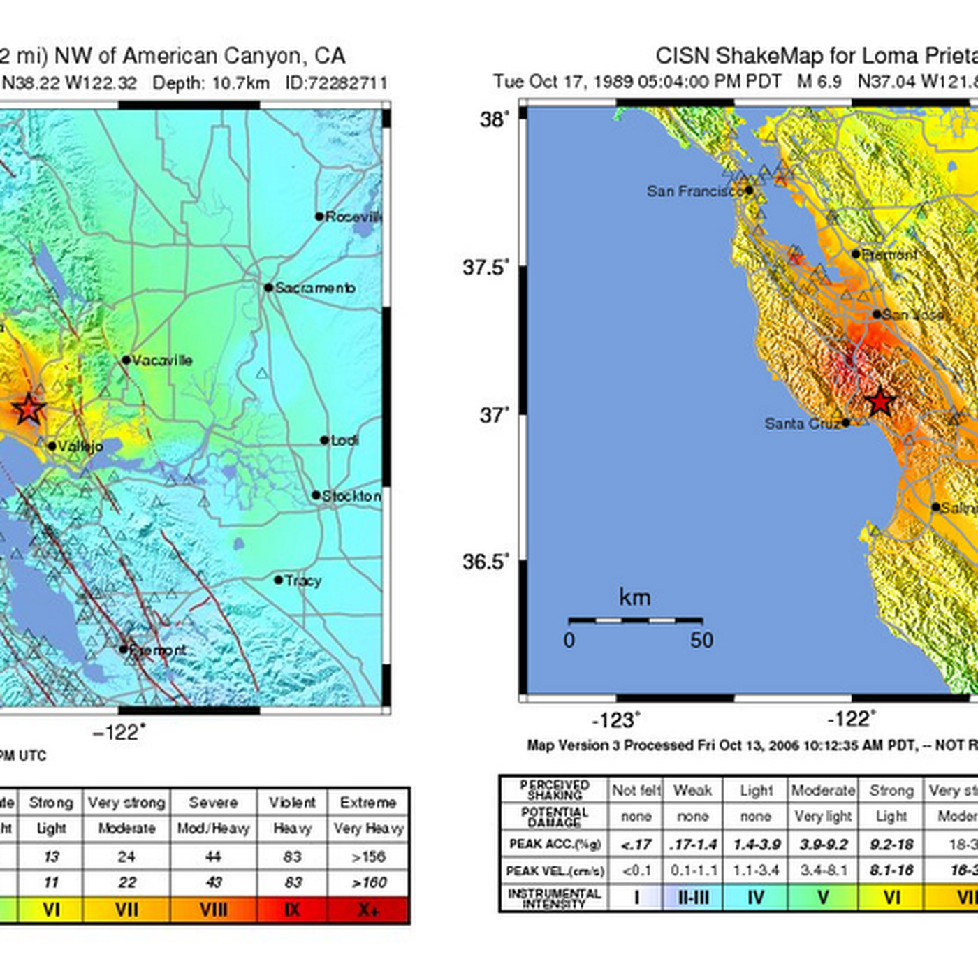 Map: How does the Napa earthquake compare to the big one in 1989? -  Earthquake Map on