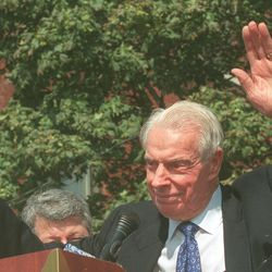 Baseball legend Joe DiMaggio at the ribbon cutting of the National Italian American Sports Hall of Fame in 1998. | Sun-Times Archives