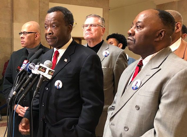 """Mayoral candidate Willie Wilson (left) and former alderman and state senator Rickey """"Hollywood"""" Hendon at Monday's City Hall news conference 