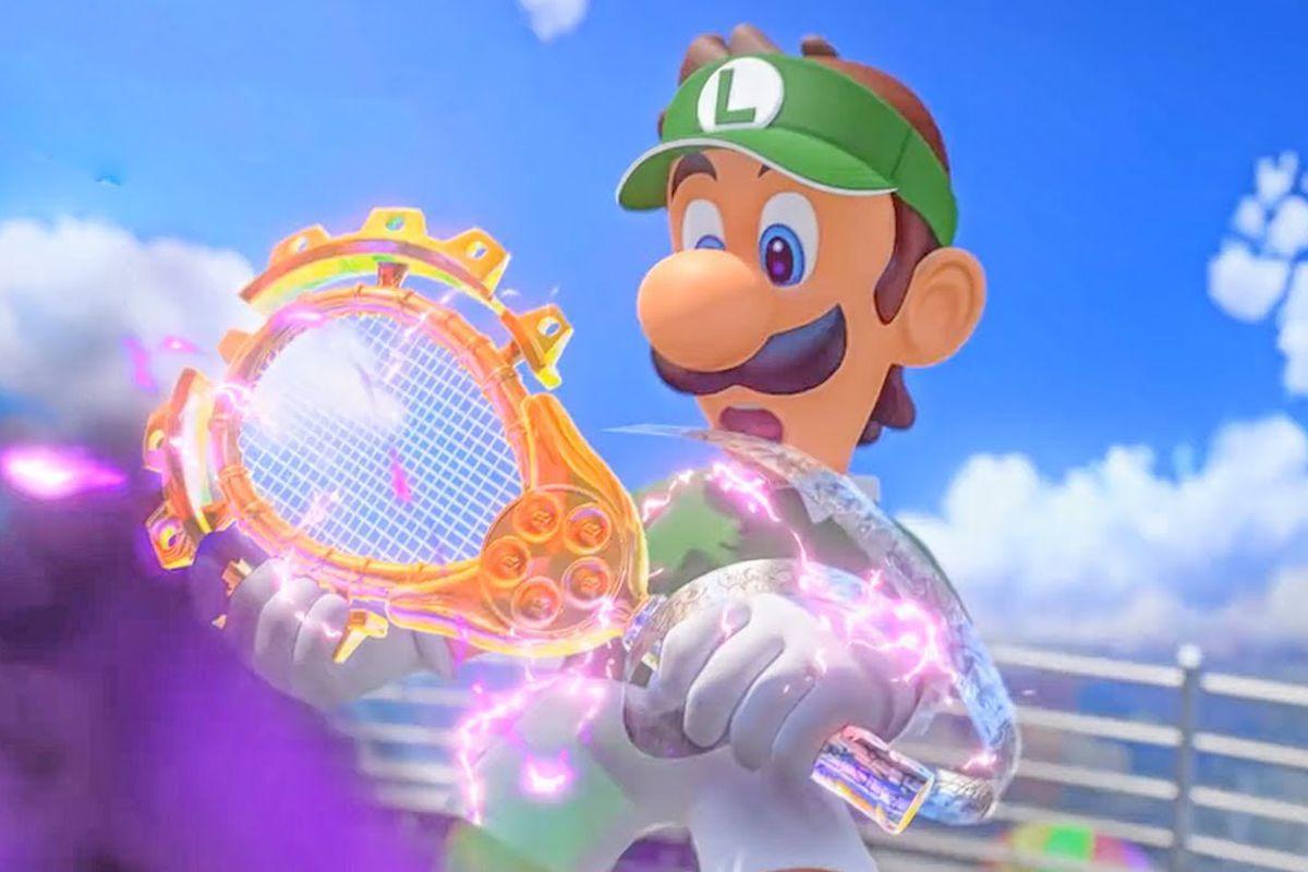 Luigi holding the cursed racket in Mario Tennis Aces