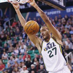 Utah Jazz center Rudy Gobert slams over the Minnesota Timberwolves in Salt Lake City Friday, Jan. 29, 2016. Utah won 103-90.