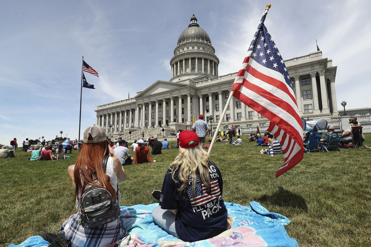 Jordann Rasmussen and Sheri Thatcher attend an Interfaith Spiritual Revival at the Capitol in Salt Lake City on Saturday, May 16, 2020. The event was for all beliefs who support the First Amendment.