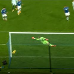 Ball hits the post and bounces away harmlessly, luckily for the Toffees