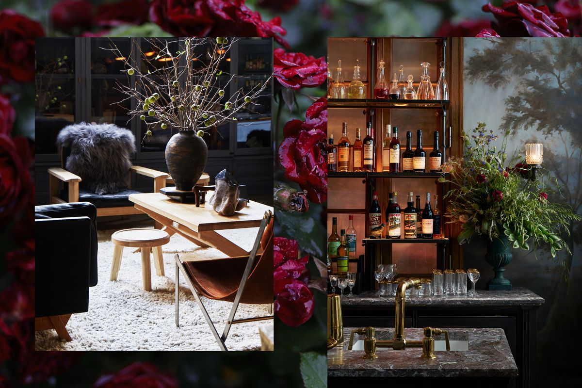 A collage of a seating area with a leather sling chair, leather armchair, wood coffee table, and high-pile rug. The second photograph has a marble bar with brass sink, frescoes on the wall, and a lavish floral bouquet next to glassware with gold trim.