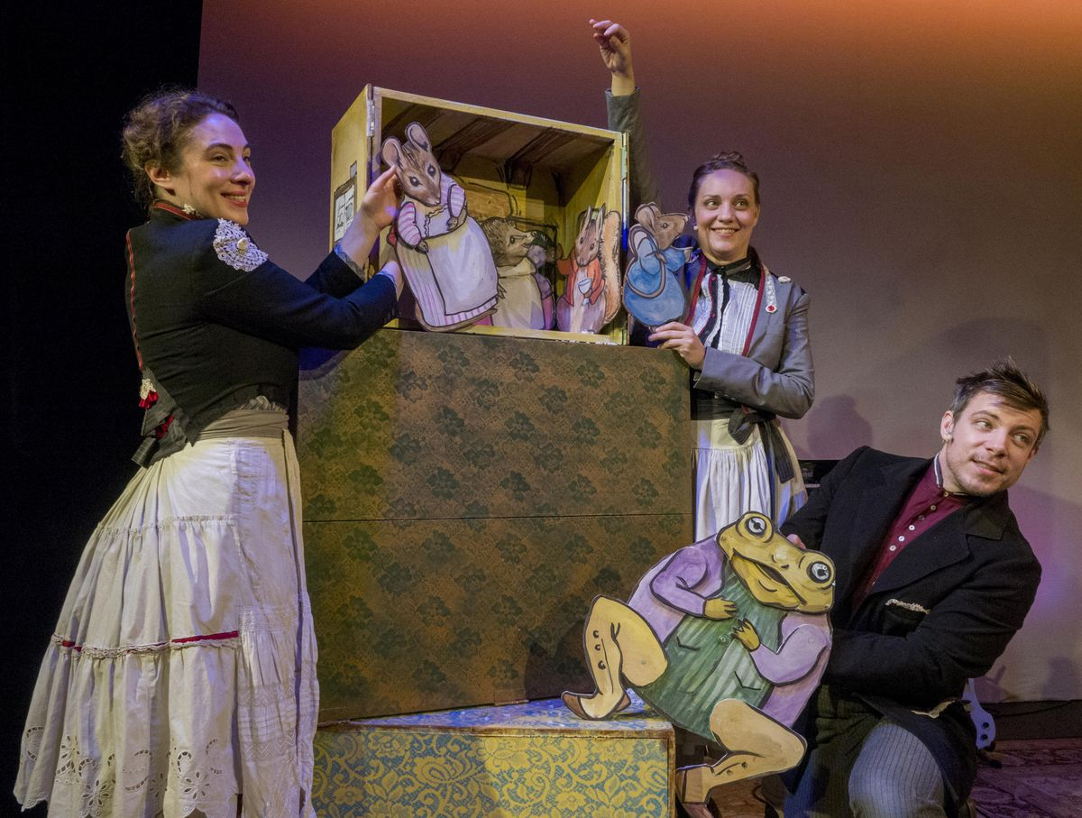 """Lara Carling (from left), Ray Rehberg and Kay Kron perform """"The Tale of Mrs. Tittlemouse,"""" one of three classic tales that make up The Beatrix Potter Holiday Tea Party at Chicago Children's Theatre."""