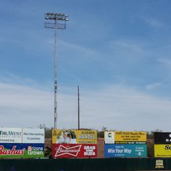 The left-field wall -- no berm; also one of the light towers, moved to Phoenix from the Polo Grounds in New York -