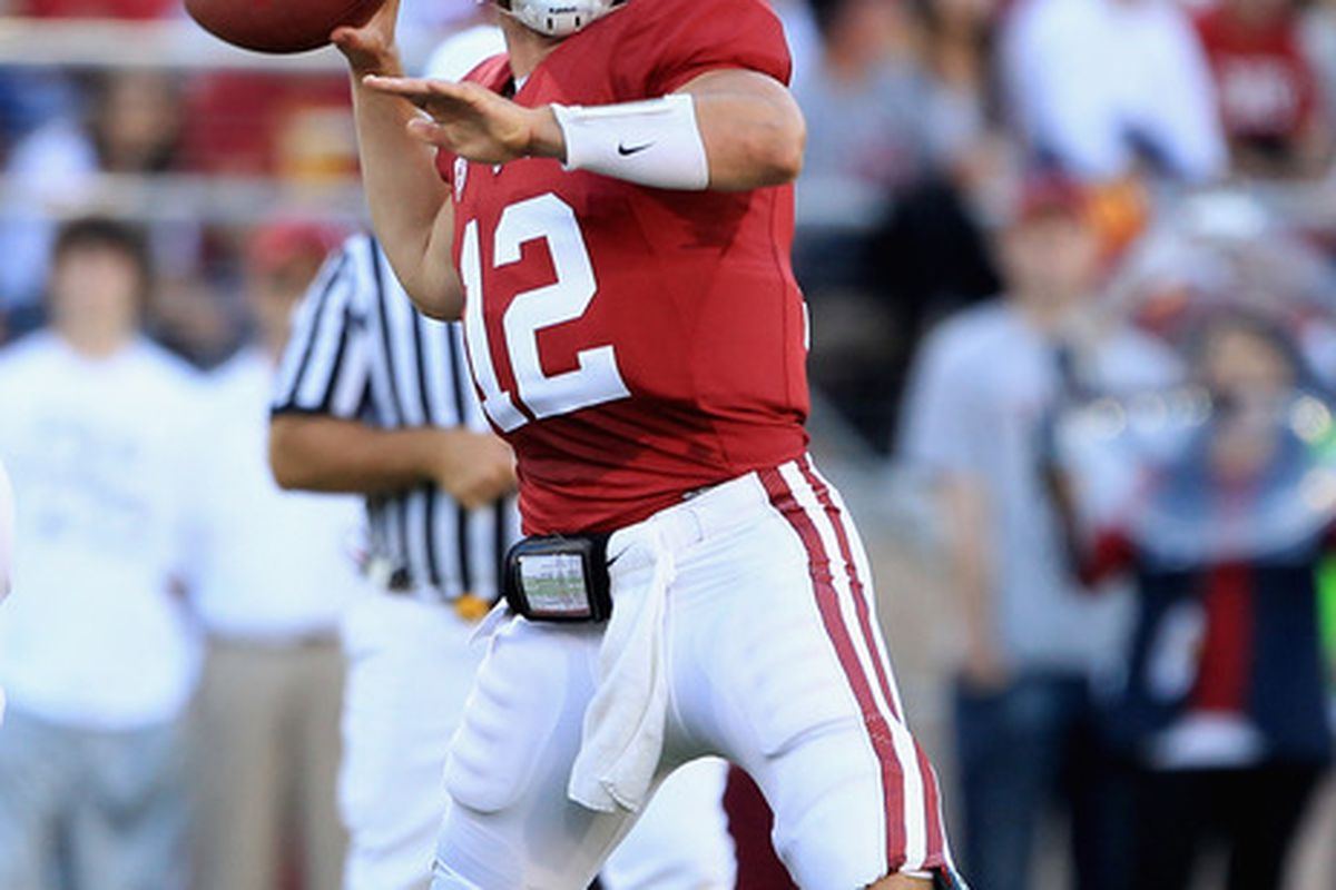 PALO ALTO, CA - OCTOBER 09:  Andrew Luck #12 of the Stanford Cardinal passes the ball against the USC Trojans at Stanford Stadium on October 9, 2010 in Palo Alto, California.  (Photo by Ezra Shaw/Getty Images)