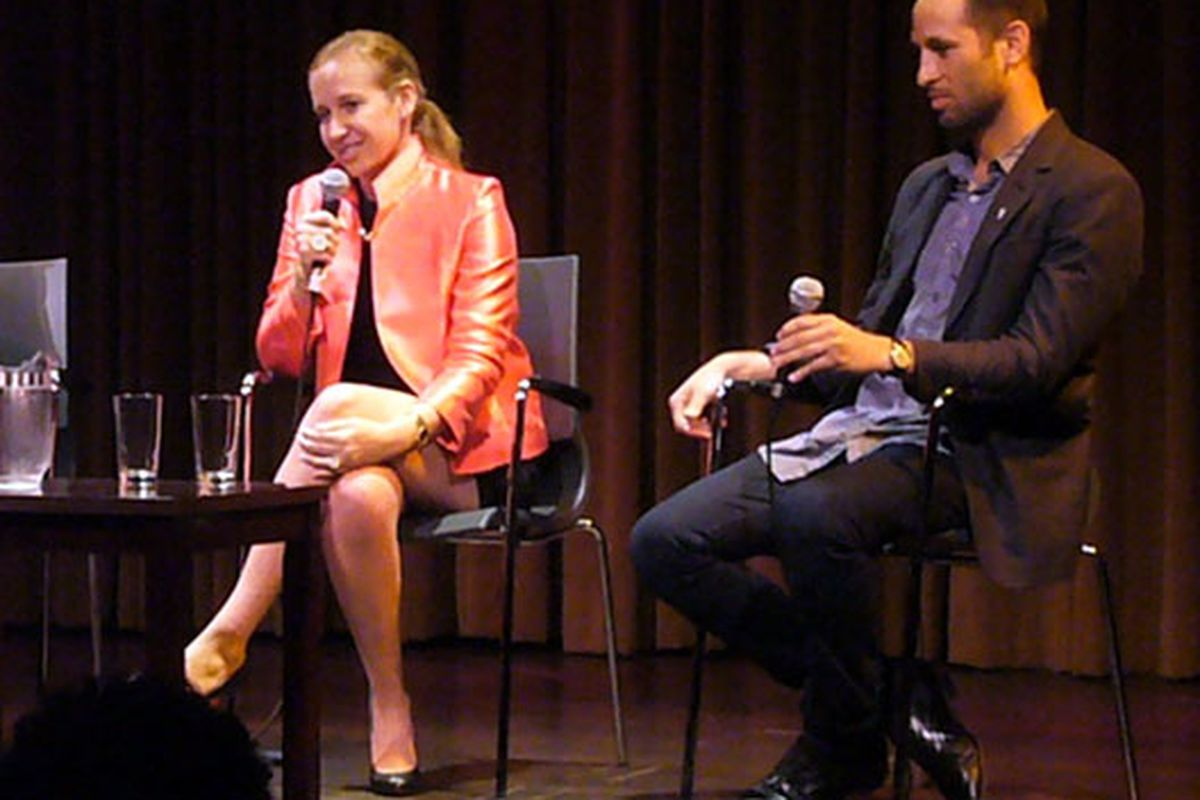 Gilt's Alexandra Wilkis Wilson and Inven.tory's Michael Townsend on stage at the 92nd St Y