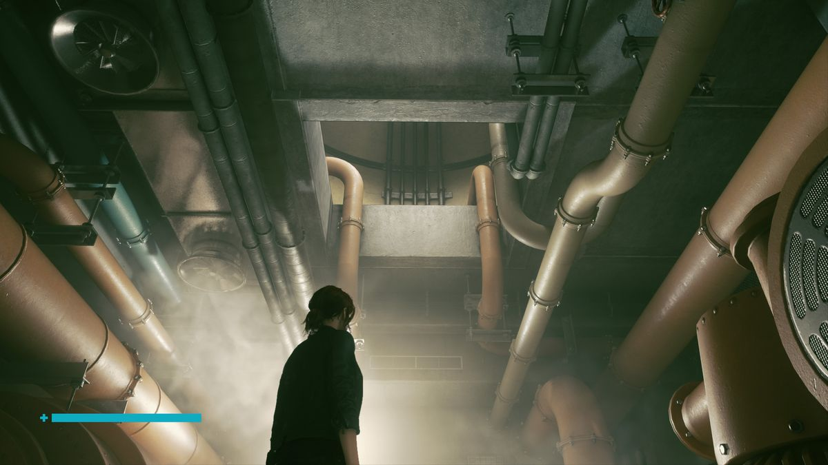 A woman stares at a hole in the ceiling among pipes
