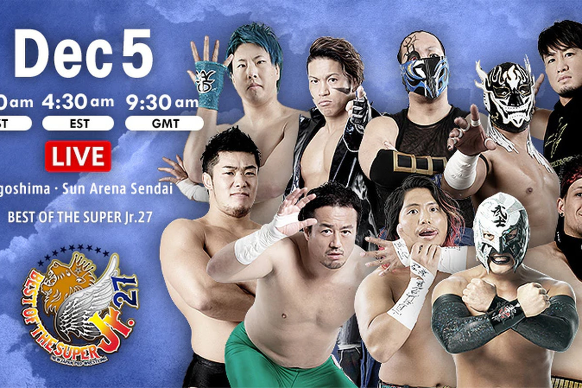 Lineup graphic for night fifteen of NJPW Best of the Super Jr. 27
