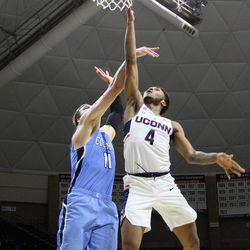 UConn's Jalen Adams (4) during the Columbia Lions vs UConn Huskies men's college basketball game at Gampel Pavilion in Storrs, CT on November 29, 2017.