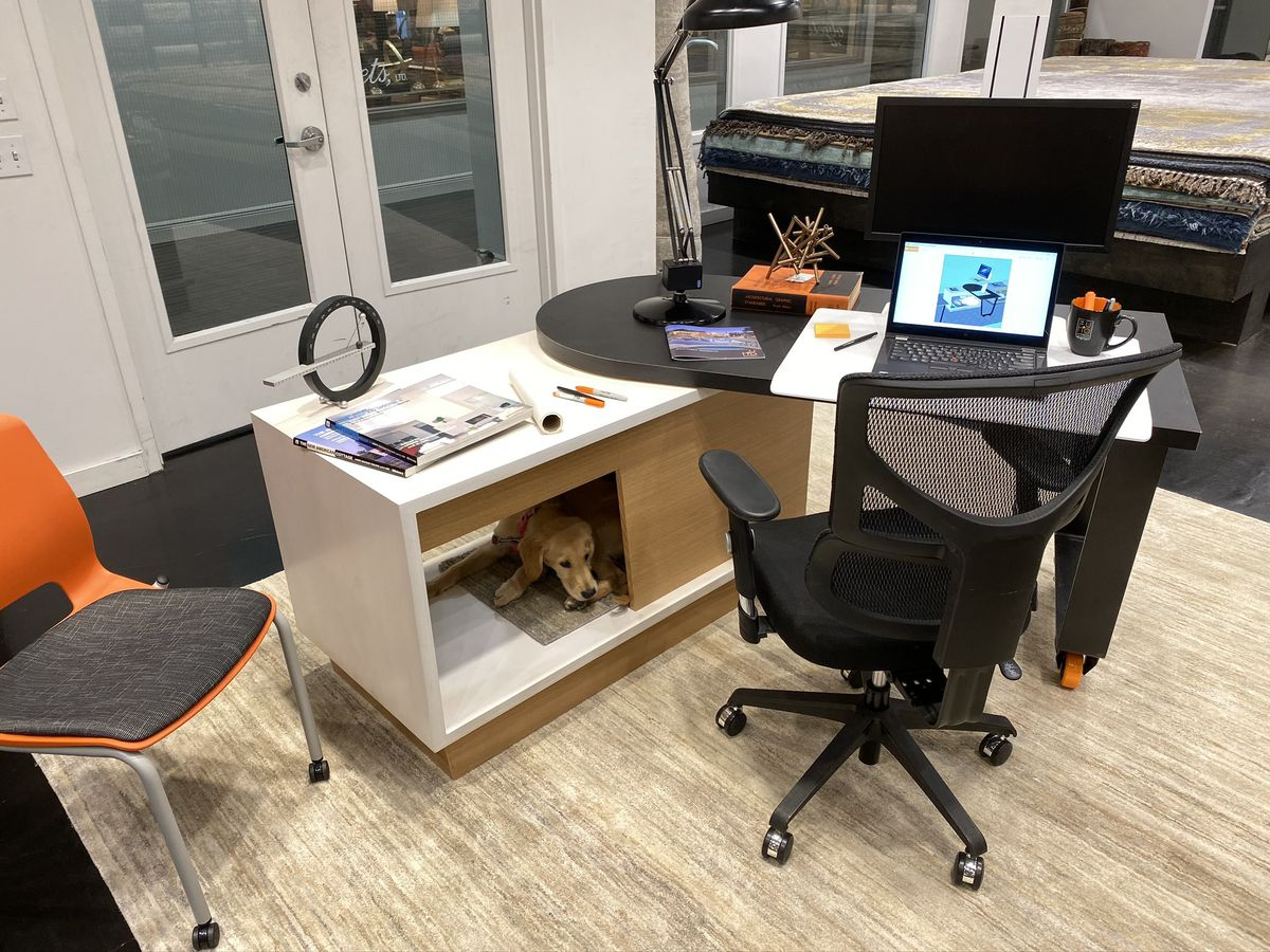 Interior photo of a modern desk with one end supported by a rectangular structure with wooden half-walls. A dog is lying inside.