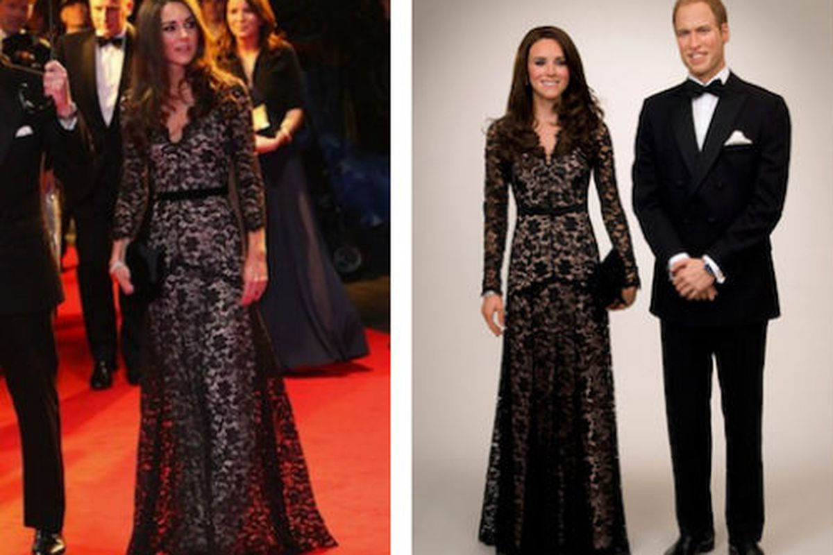 """Can you tell the difference? Images via <a href=""""http://www.graziadaily.co.uk/fashion/archive/2012/04/04/kate-middleton-and-prince-william-waxworks-unveiled-at-madame-tussauds-in-london.htm"""">Grazia</a> and Getty"""