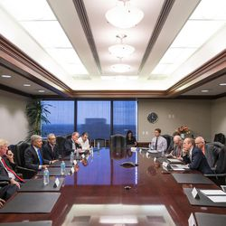 Libertarian presidential candidate Gary Johnson, third from left, and his running mate, Bill Weld, second from left, speak with the Deseret News and KSL editorial board in Salt Lake City on Friday, Aug. 19, 2016.