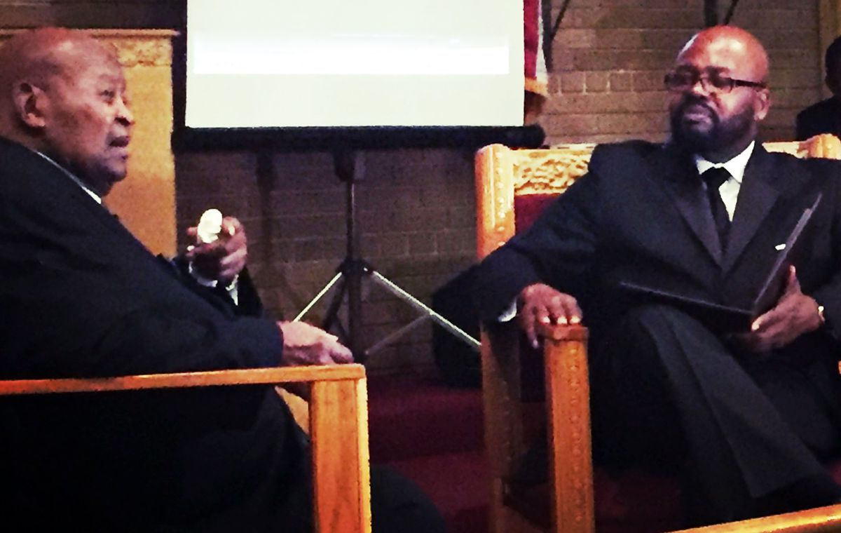 John Fountain interviewing his grandfather George Hagler Jan. 2017, at the True Vine Church of God in Bellwood, which Hagler founded in 1973. | Photo provided by John Fountain