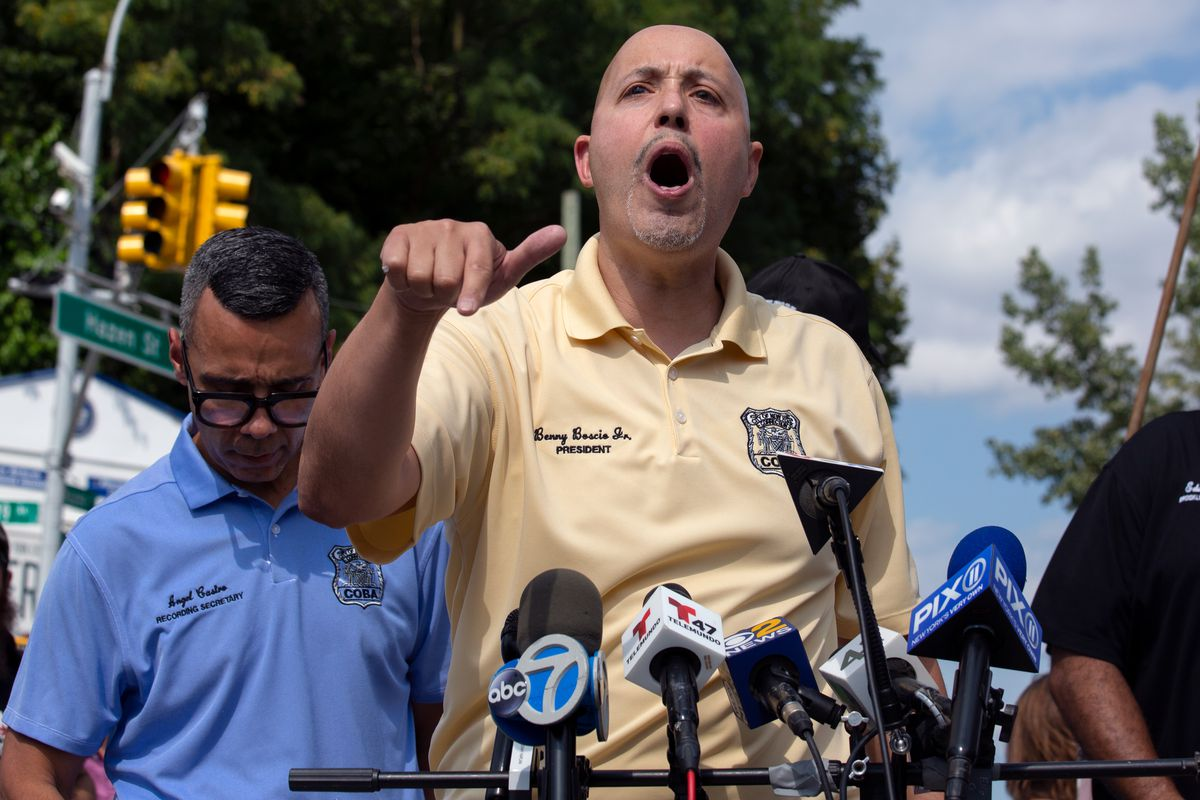 Correction Officers' Benevolent Association President Benny Boscio Jr. speaks about unsafe conditions for his members after clashing with elected leaders during a rally outside Rikers Island on Monday, Sept. 13, 2021.