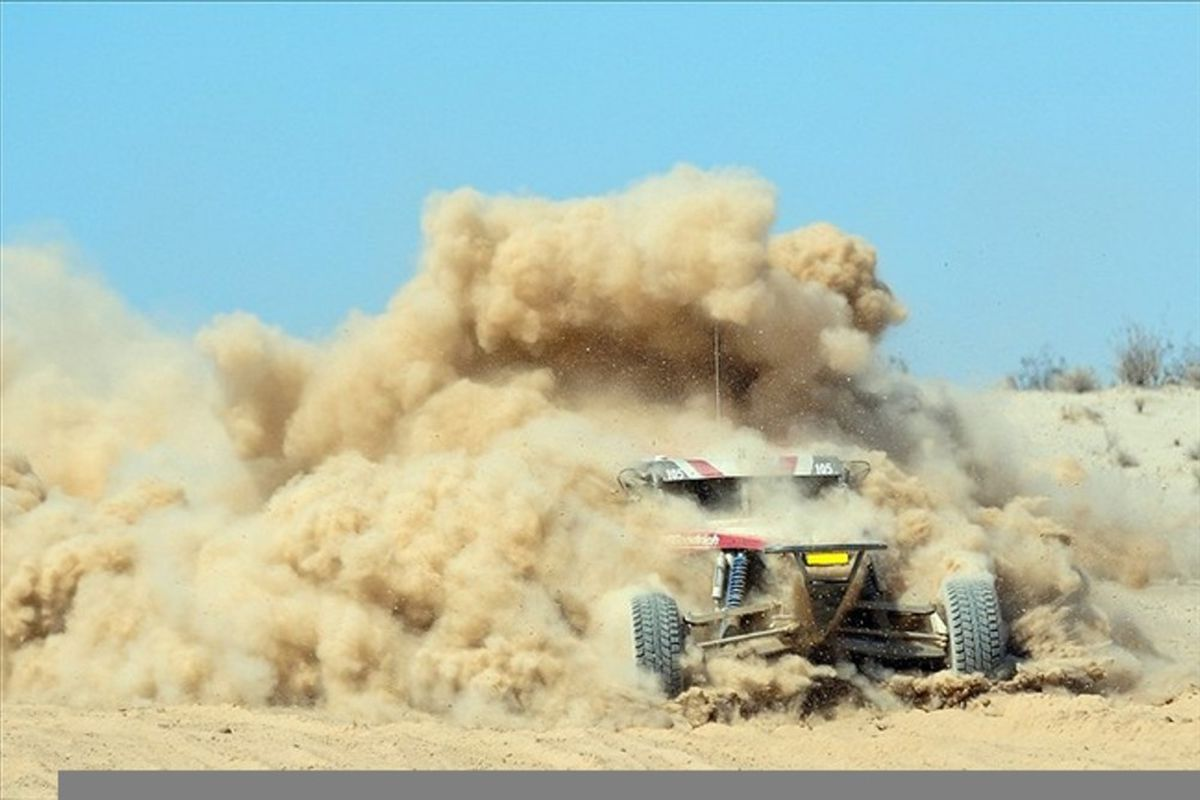 Mar. 10, 2012; San Felipe, BC, Mexico; SCORE class 1 driver Josh Rigsby is swallowed by a cloud of dirt while racing through a silt bed during the San Felipe 250.  Mandatory Credit: Matt Kartozian-US PRESSWIRE