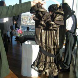 Metallic ruffle dress, $199