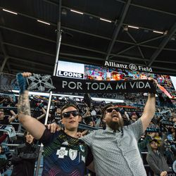 Supporters celebrate Minnesota United's 4-1 win over Sporting Kansas City in the US Open Cup