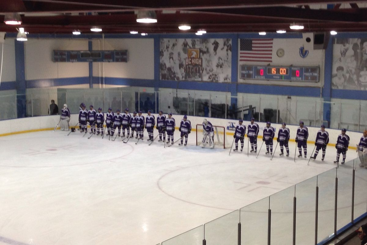 Springfield Cathedral players line up for the starting lineups at a game at BC High earlier this season.