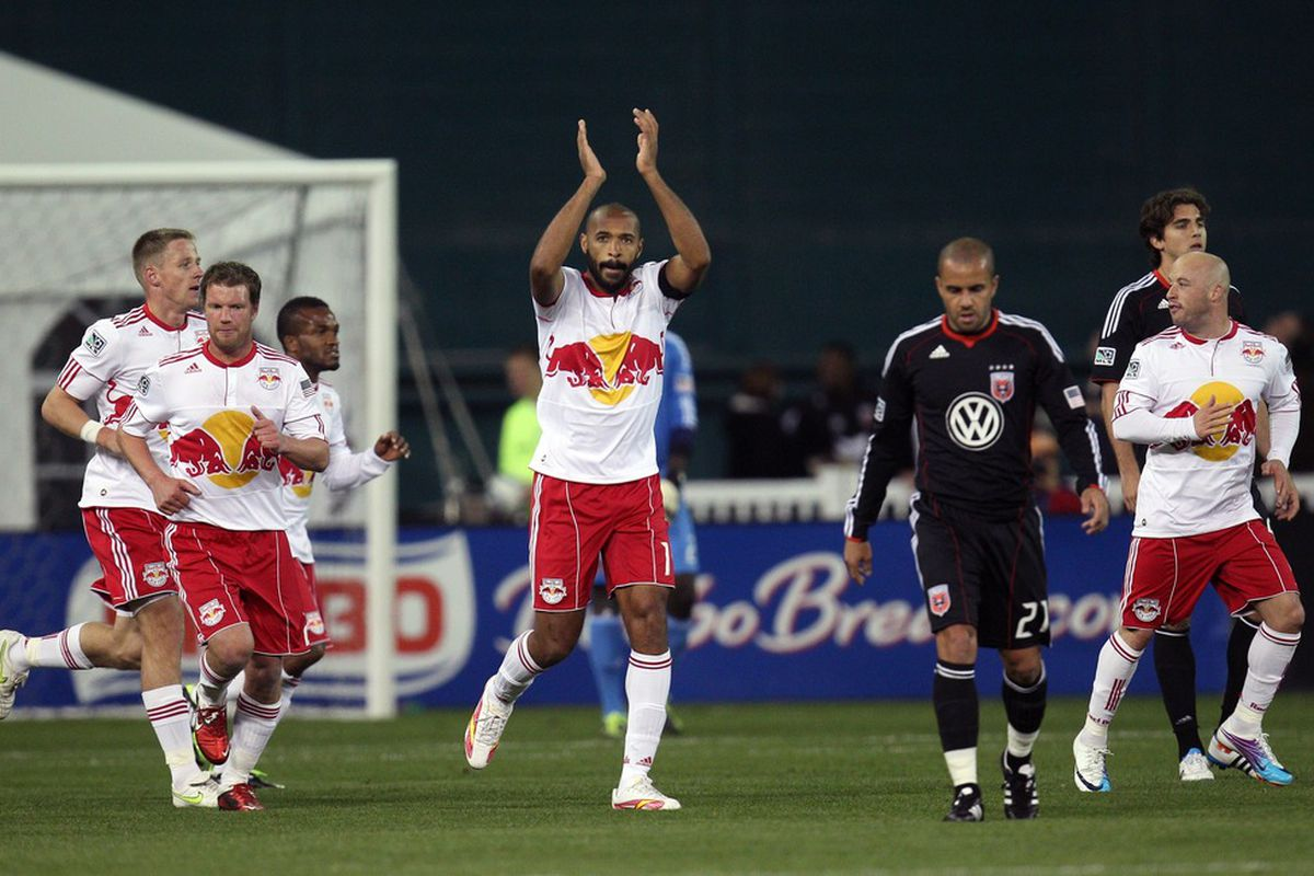 WASHINGTON, DC - APRIL 21: Thierry Henry (14) of the New York Red Bulls celebrates after a goal against D.C. United at RFK Stadium on April 21, 2011 in Washington, DC. (Photo by Ned Dishman/Getty Images)