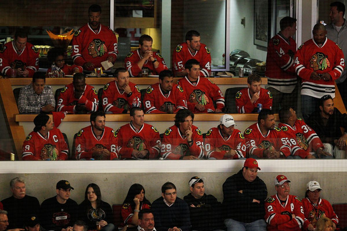 The Cubs watch the Blackhawks last month. Some of the 'Hawks returned the favor last night.