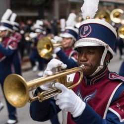 A member of the Pebblebrook High School Mighty Marching Machine performs at the 85th Annual Thanksgiving Day Parade on November 22, 2018   Max Herman/For the Sun-Times